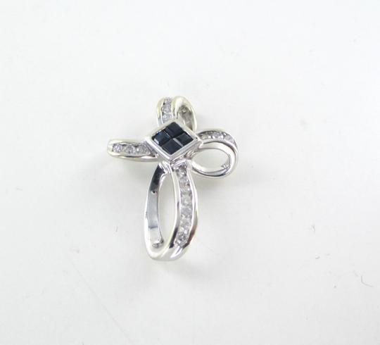 Other 14KT SOLID WHITE GOLD CROSS 16 DIAMONDS .32 CARAT 4 SAPPHIRES PENDANT 3.1 GRAMS Image 4