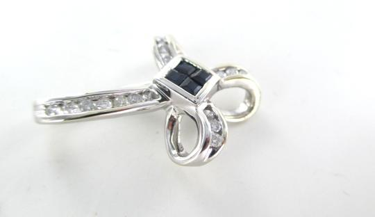 Other 14KT SOLID WHITE GOLD CROSS 16 DIAMONDS .32 CARAT 4 SAPPHIRES PENDANT 3.1 GRAMS Image 6