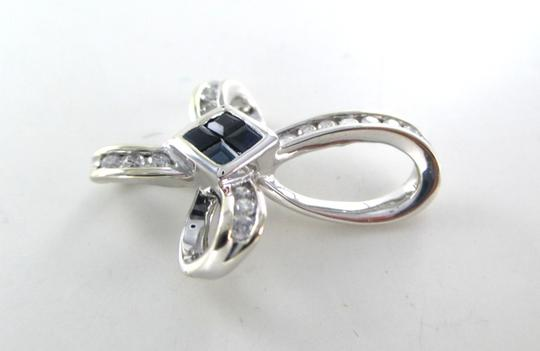 Other 14KT SOLID WHITE GOLD CROSS 16 DIAMONDS .32 CARAT 4 SAPPHIRES PENDANT 3.1 GRAMS Image 7