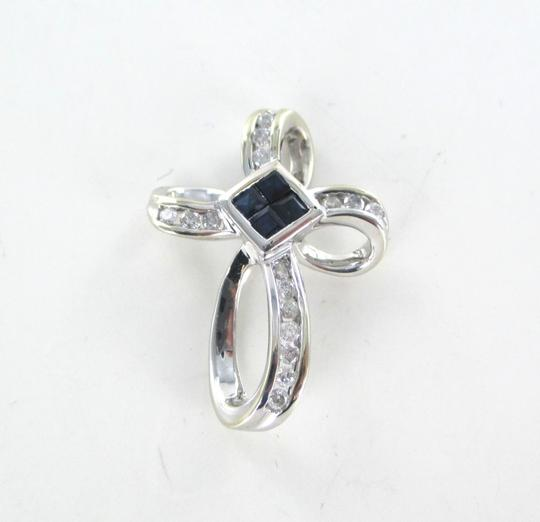 Other 14KT SOLID WHITE GOLD CROSS 16 DIAMONDS .32 CARAT 4 SAPPHIRES PENDANT 3.1 GRAMS