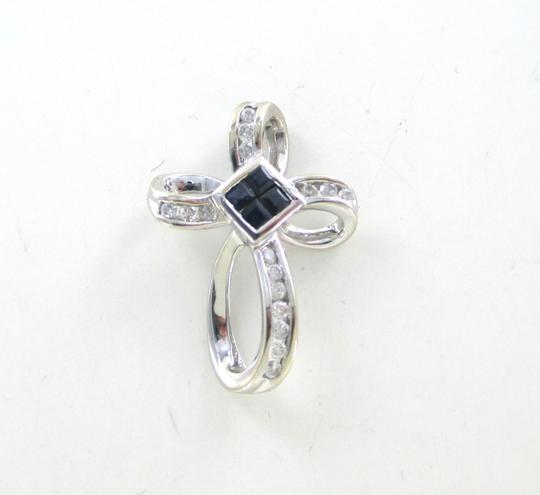 Other 14KT SOLID WHITE GOLD CROSS 16 DIAMONDS .32 CARAT 4 SAPPHIRES PENDANT 3.1 GRAMS Image 9