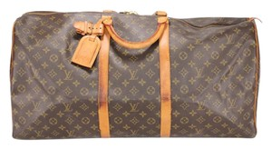 Louis Vuitton Lv Keepall 55 Monogram Travel Brown Travel Bag