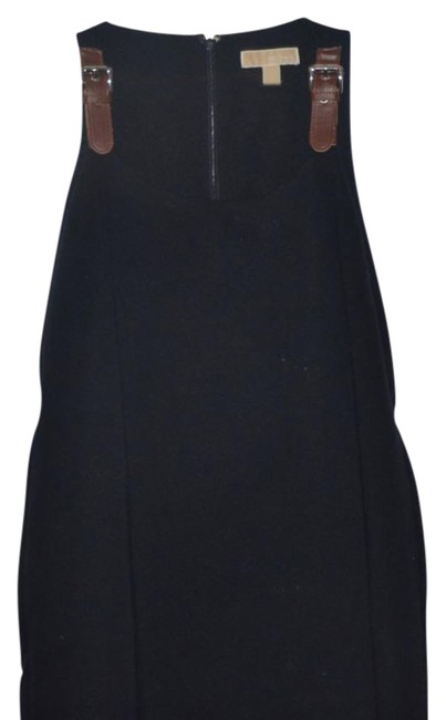 Item - Navy Brown L Stretch with Buckle Details Mid-length Short Casual Dress Size 12 (L)