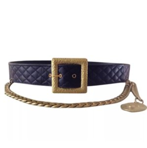 Chanel CHANEL LEATHER & CHAIN BELT