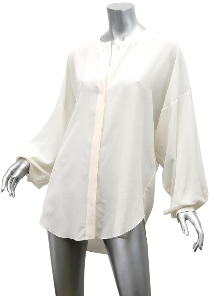 2292b86c49afc Chloé Ivory Cream Silk Chiffon Oversized Draped Blouse Shirt Button-down Top