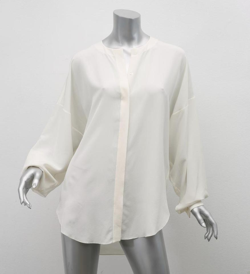 656e2cb80e9b3 Chloé Ivory Cream Silk Chiffon Oversized Draped Blouse Shirt Button ...