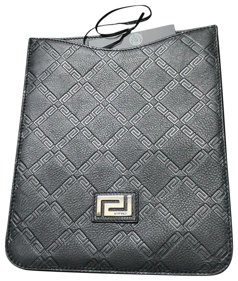 85a438a5130 Versace NEW! Black Logo Leather iPad Case Designer Sleeve Cover Protector  Image 2. 123