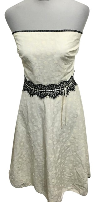 Item - Ivory Strapless Polka Dot Lace Mid-length Short Casual Dress Size 8 (M)