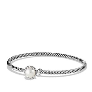 David Yurman Cable Bangle Sterling with Pearl Chatelaine