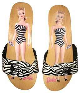Dr. Scholl's zebra and wooden Mules