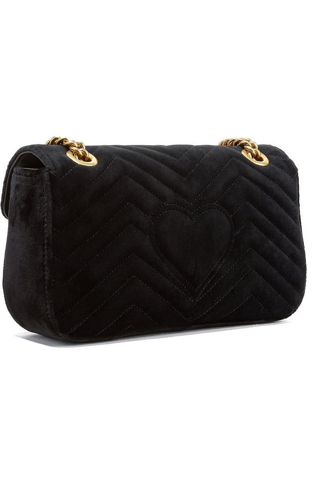 b1ff81c3c22d Gucci Marmont Small Gg Chain Black Velvet Shoulder Bag - Tradesy