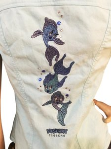 Iceberg Embellished Embroidered Fish Mermaid Disney Button Down Shirt blue