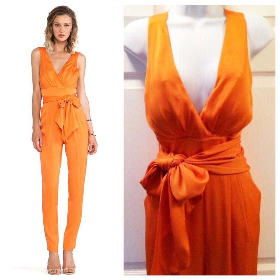 06e5f379ce50 Catherine Malandrino Orange Silk Halter Neck Bow Romper Jumpsuit ...