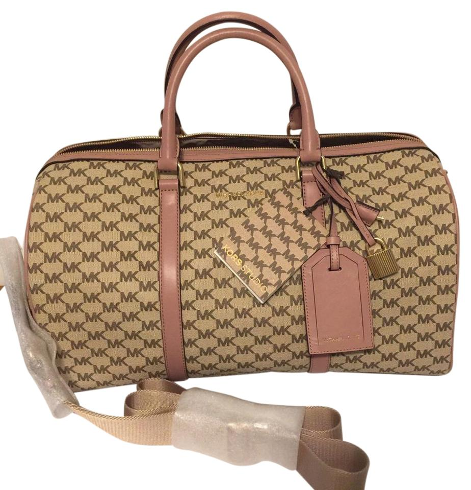 Michael Kors Collection Large Heritage Logo Natural Fawn Natural Fawn  Coated Canvas Weekend Travel Bag 2297b0b79a588