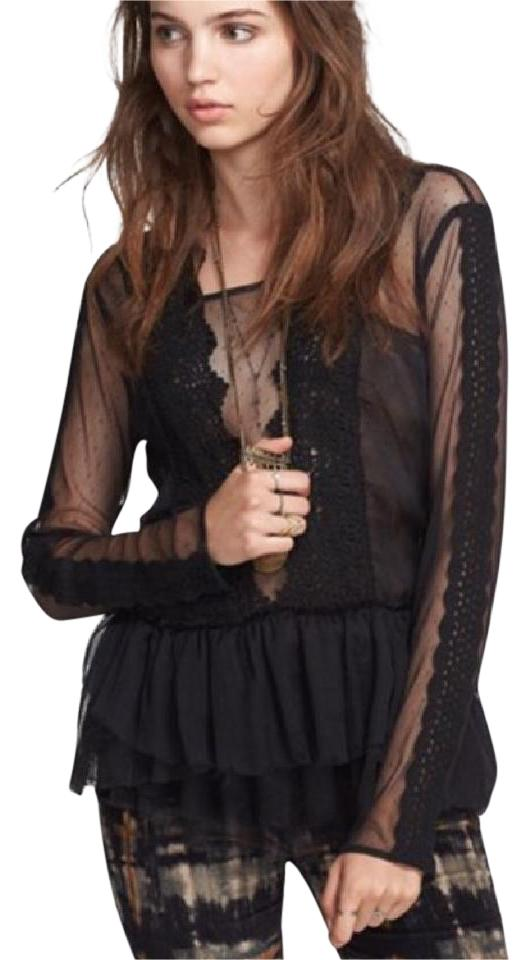 2661a9b1e09a68 Free People Black Midnight Memories Lace Blouse Size 6 (S) - Tradesy