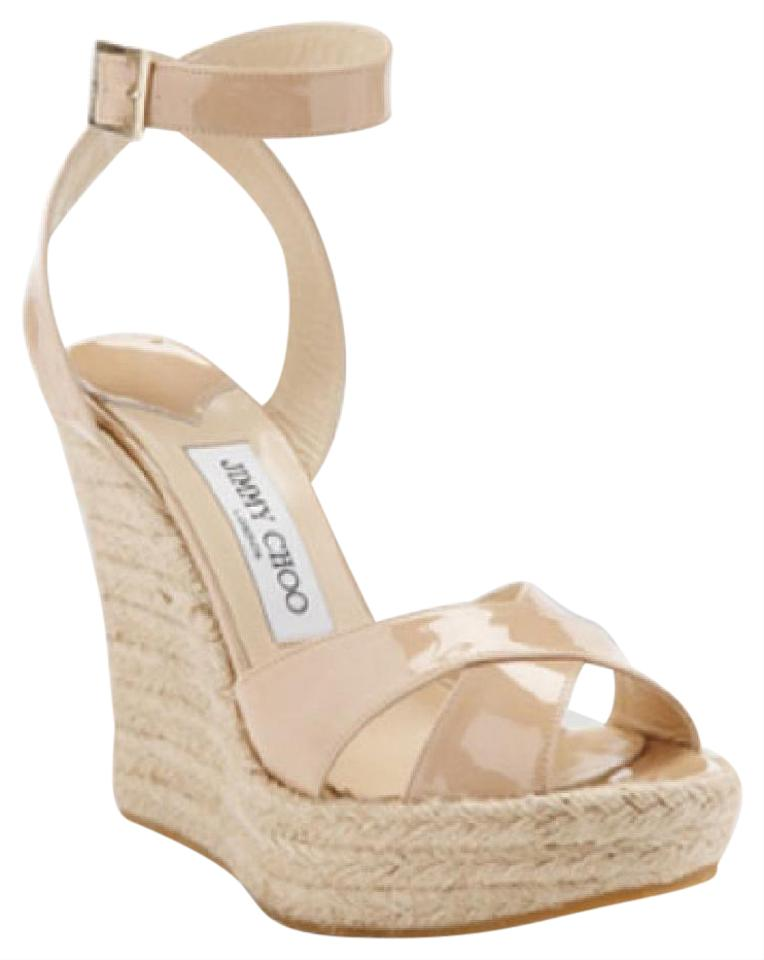 17c9fe7f9facd Jimmy Choo Nude Phoenix Wedge Patent Leather Espadrilles Sandals ...