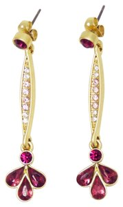 "JEWELMINT JewelMint Delicate Rose Crystal and Gold Drop Earrings; 2"", NWOT"