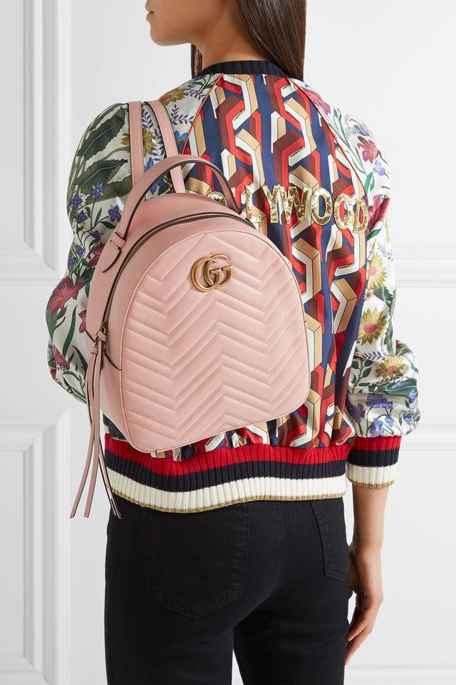 9576074be8f Gucci Marmont New Gg Quilted Pink Calfskin Leather Backpack - Tradesy