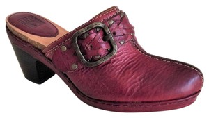 Frye Leather Solid Brass Size 8 Burgundy Mules