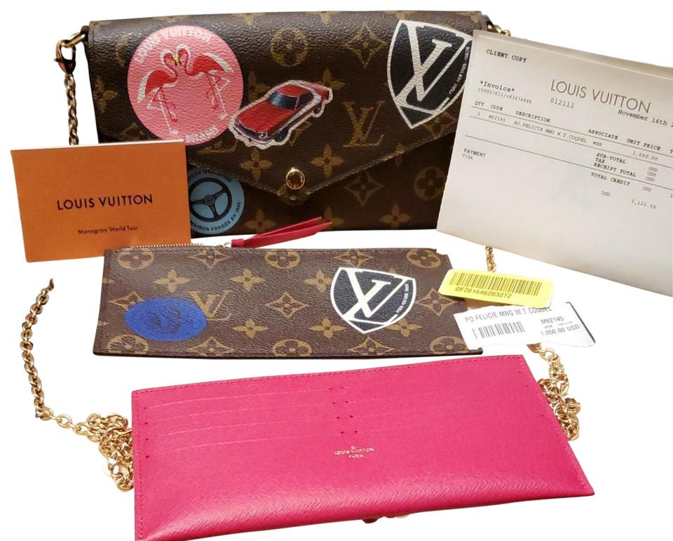 27fc4b08f9c6 Louis Vuitton World Tour Sold Out Lining Felicie Gold Chain Strap Cross  Body Bag Image 0 ...