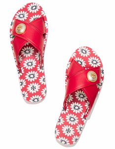 Tory Burch Pearl Floral Summer Beach Red Sandals