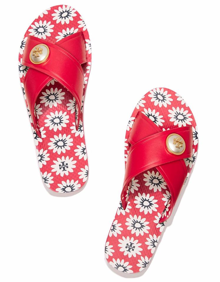 8438f1b4852 Tory Burch Red New Box Floral Pearl Leather Flip Flop Summer Slides Sandals