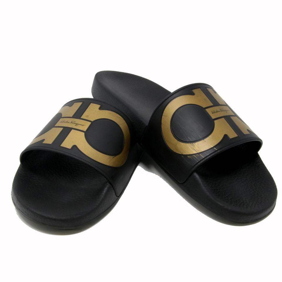 f06384fed Salvatore Ferragamo Black Gold Gancini Logo Men s Flip Flop Rubber Slide  Sandals