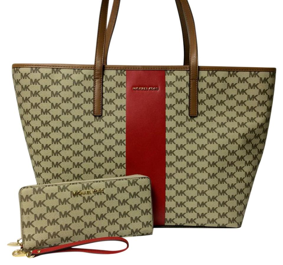 c5c2014d5042 Michael Kors Large Wristlet Wallet Stripe Canvas Tote in Natural / Bright  Red Image 0 ...