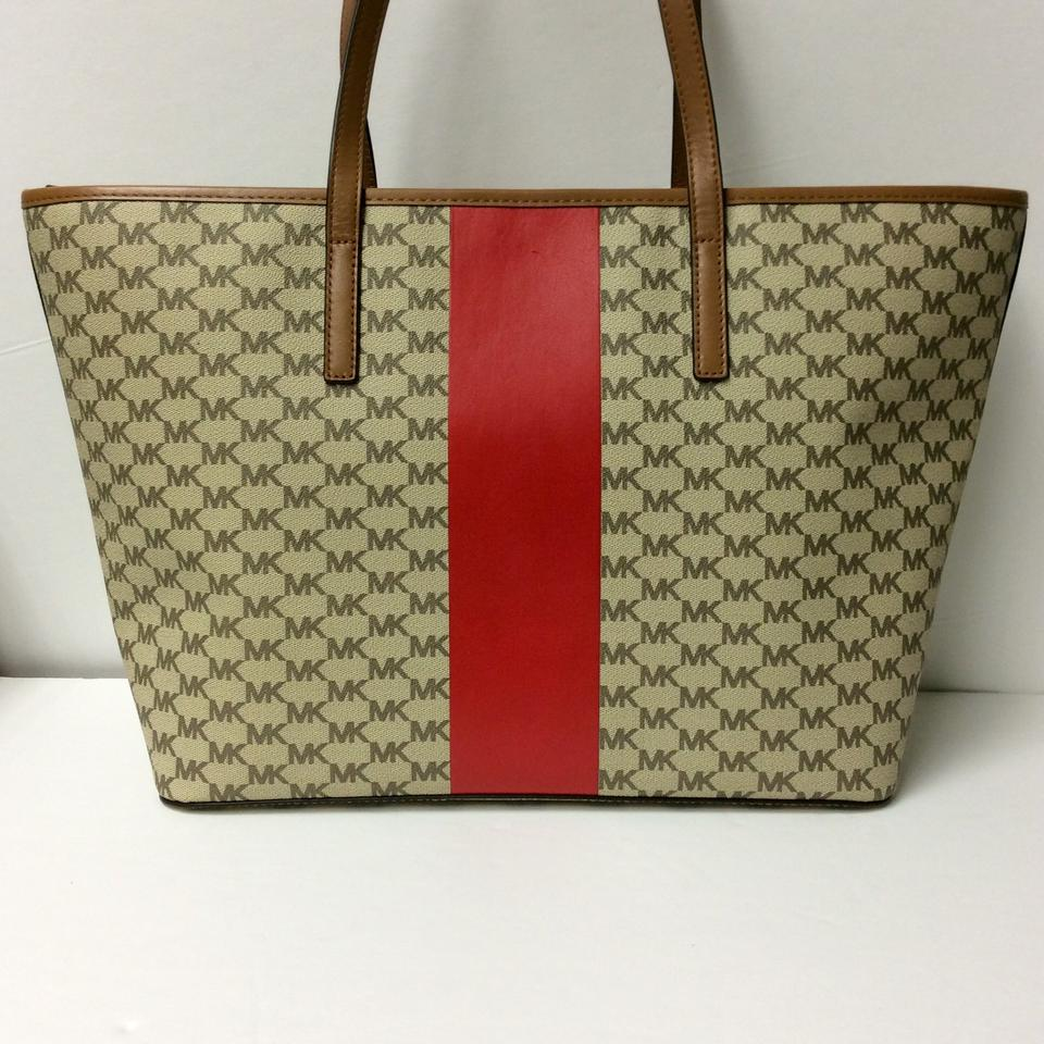 0cc64b5485e41 Michael Kors Emry Large Heritage Signature Stripe   Wristlet Wallet Natural    Bright Red Coated Canvas Tote - Tradesy