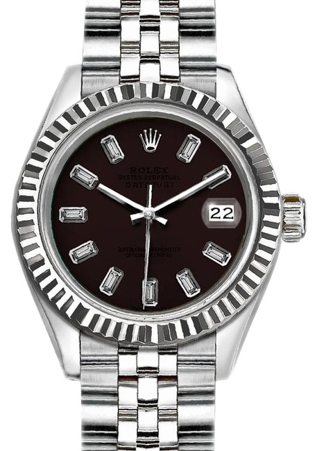 Item - Silver and Dark Brown 36mm Datejust with Diamond Dial Watch