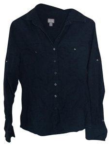 Converse 3/4 Sleeve Long Sleeve Button Down Shirt navy blue