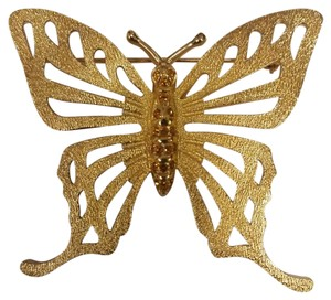 Dior Christian Dior Goldtone Cut-Out Oversize Butterfly Pin w/Crystals