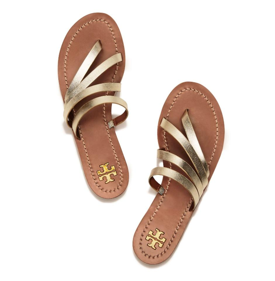 ec9f9f7e1 Tory Burch Gold Patos Metallic Slide Sandals Size US 5.5 Regular (M ...