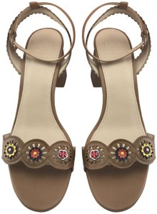 Tory Burch Block Floral Chunky Leather Ankle Strap Brown Sandals