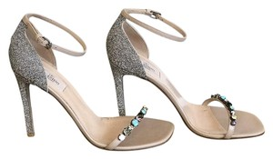 Valentino Silver Crystal Heels Size 39.5 Multi Sandals