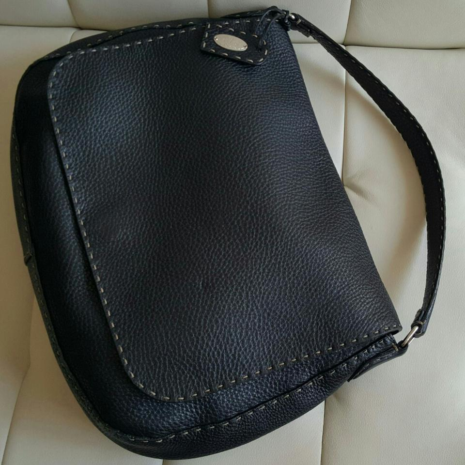 Leather Hobo Bag Black Flap Fendi Large qtxUIwnHCv