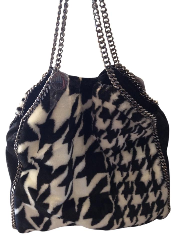 Stella McCartney Falabella Houndstooth Black and White Faux Fur Shoulder  Bag 56% off retail f6b56a07cad5f