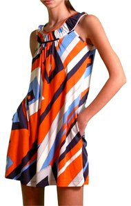 FLORA KUNG short dress NWT orange blue print sun dress Silk Black Mini Color-blocking Jersey on Tradesy