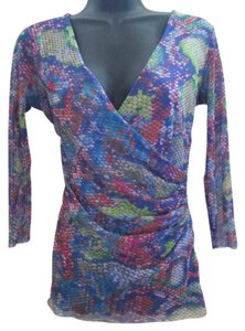 Saks Fifth Avenue Nylon Snakeskin Ruched Spring Summer Top Multicolored