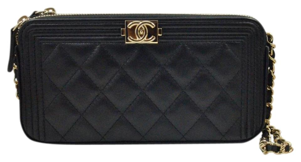 Chanel Wallet on Chain Boy Double Zip Black Lambskin Leather Cross ... 366735537