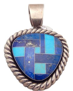 Carolyn Pollack Sterling Silver Carolyn Pollack Relios Heart Lapis Turquoise Pendant