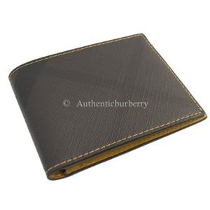 Burberry Men's Contrast London Checkered Wallet ‑ Larch Yellow