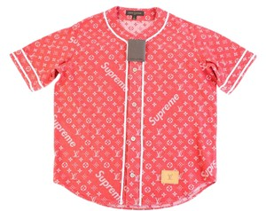 Louis Vuitton x Supreme Limited Edition Jacket Button Down Shirt Red