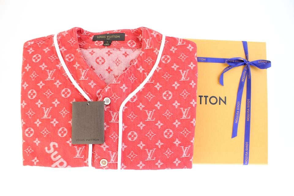 734ca5205721 Louis Vuitton x Supreme Limited Edition Jacket Button Down Shirt Red Image  8. 123456789