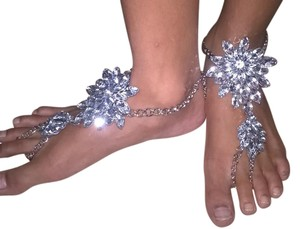 Clear & Silver Sexy Crystal Boho Barefoot Sandals Anklet Fits Size 7-8 Jewelry Set