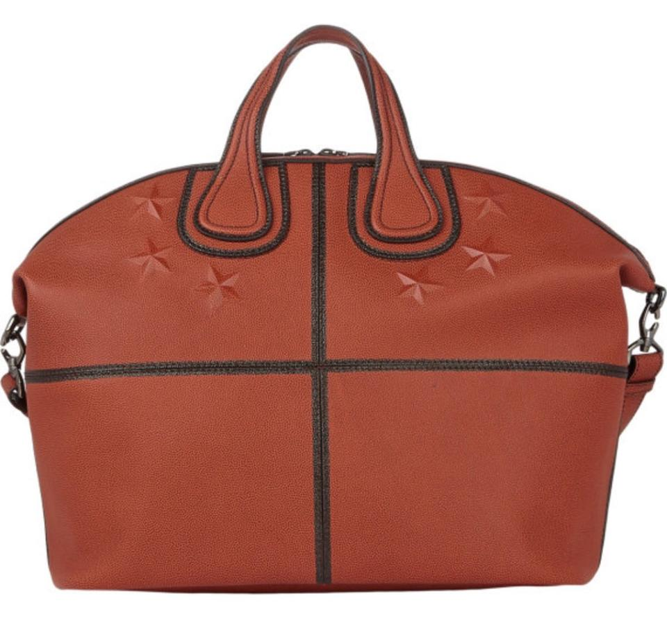 47cc6e0ae7bb Givenchy Men s Nightingale Satchel New With Orange ( Basketball ) Calfskin Leather  Weekend Travel Bag