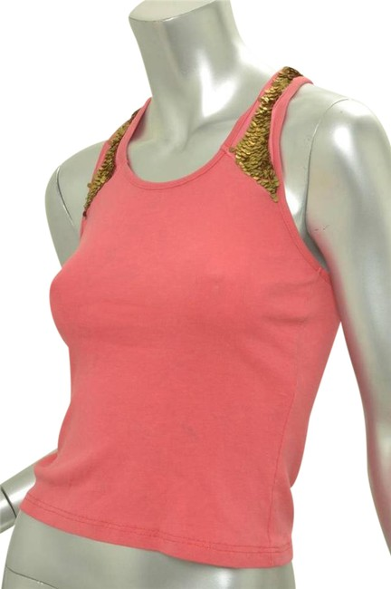 Item - Coral Coral+gold Sequins Racerback Sleeveless Blouse Tank Top/Cami Size 4 (S)