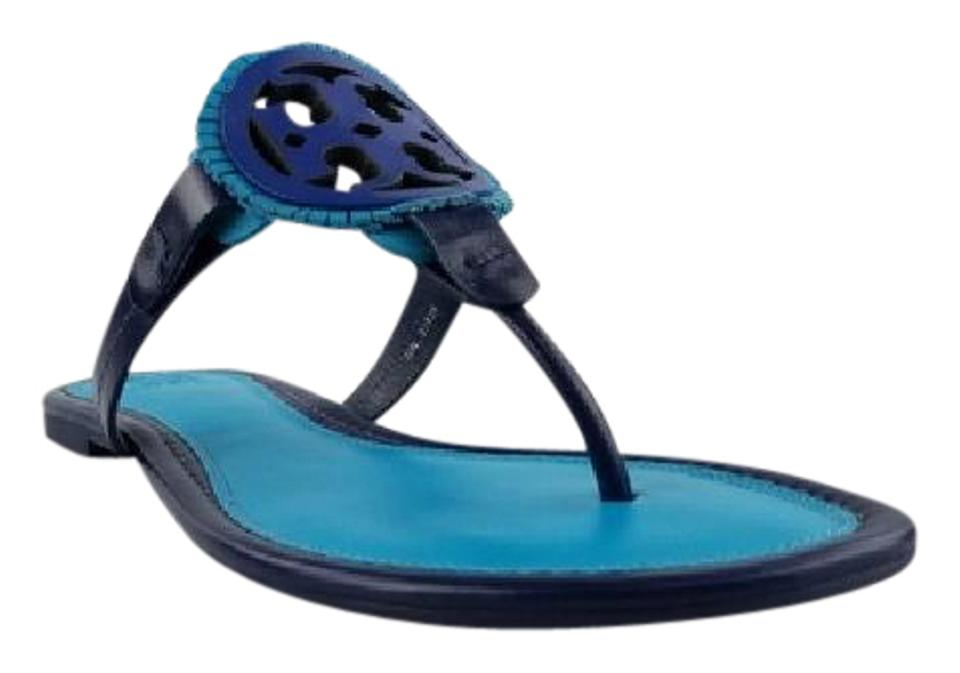 Tory Burch Navy Sea Brilliant Blue and Sandals Jewel Blue Miller Fringe Sandals and 5caf5f