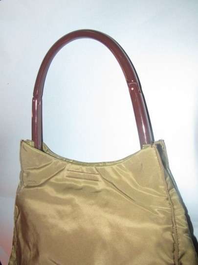 Prada Mint Vintage Retro Mod Style Dressy Or Casual Perfect For Everyday Satchel in Olive Green nylon/brown Lucite collapsible handle Image 1