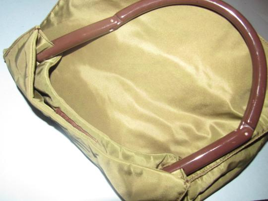 Prada Mint Vintage Retro Mod Style Dressy Or Casual Perfect For Everyday Satchel in Olive Green nylon/brown Lucite collapsible handle Image 10